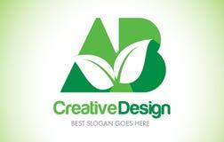 AB Green Leaf Letter Design Logo. Eco Bio Leaf Letter Icon Illus Royalty Free Stock Image