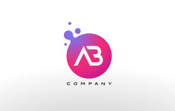 AB Letter Dots Logo Design with Creative Trendy Bubbles. Stock Image