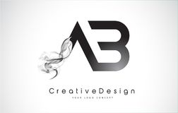 AB Letter Logo Design with Black Smoke. Creative Modern Smoke Letters Vector Icon Logo Illustration Royalty Free Illustration