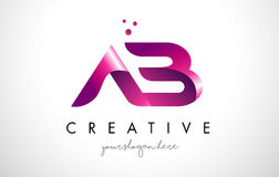 AB Letter Logo Design with Purple Colors and Dots Stock Photography