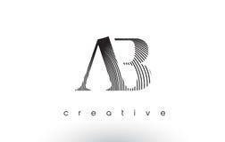 Ab Logo Design With Multiple Lines e colori in bianco e nero royalty illustrazione gratis