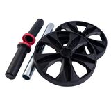 Ab Roller isolated on white background. Dual Ab Roller made of black plastic. Abs Roll Out Exercise Fitness Wheel Core Training