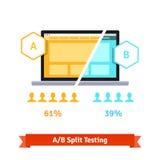AB split testing. Laptop screen Stock Images