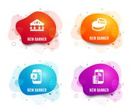 Ab testing, Carousels and Pie chart icons. Contactless payment sign. Phone test, Attraction park, 3d graph. Vector. Liquid badges. Set of Ab testing, Carousels royalty free illustration