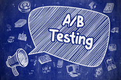 AB Testing - Cartoon Illustration on Blue Chalkboard. Screaming Bullhorn with Wording AB Testing on Speech Bubble. Hand Drawn Illustration. Business Concept stock illustration