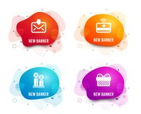 Ab testing, Contactless payment and Incoming mail icons. Gift sign. Vector. Liquid badges. Set of Ab testing, Contactless payment and Incoming mail icons. Gift stock illustration