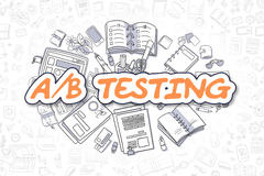 AB Testing - Doodle Orange Text. Business Concept. Doodle Illustration of AB Testing, Surrounded by Stationery. Business Concept for Web Banners, Printed royalty free illustration