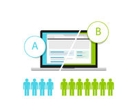 AB Testing. Web design and development testing metodology stock illustration