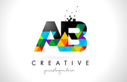AB um logotipo da letra de B com vetor colorido do projeto da textura dos triângulos Fotos de Stock