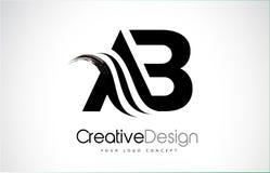 AB um projeto de letras pretas criativo da escova de B com Swoosh Imagens de Stock Royalty Free