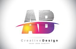 AB uma letra Logo Design With Creative Lines e Swosh de B em Purpl Fotos de Stock