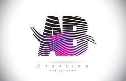 Ab una lettera Logo Design With Creative Lines di struttura della zebra di B e royalty illustrazione gratis