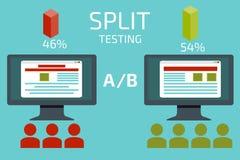 Ab-vergelijking Het gespleten testen Concept met bureaucomputer vector illustratie