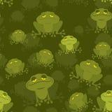 Żaba bezszwowy wzór Zielony kumak w bagnie Wiele Ziemnowodny anim Obraz Stock