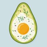 Abacate cozido com ovo e tempero Ovo delicioso na ilustração tirada mão do vetor do abacate ilustração royalty free