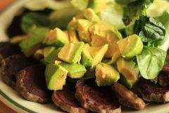 Abacate cru orgânico, beterraba cozida, espinafres crus, salada crua da alface Fotografia de Stock
