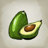 Abacate, metade do abacate, semente do abacate Foto de Stock