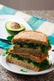 Abacate, peru, sanduíche da rúcula com aioli Imagens de Stock