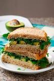 Abacate, peru, sanduíche da rúcula com aioli Foto de Stock Royalty Free