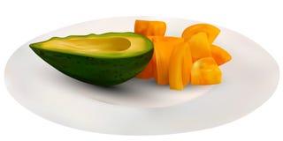Abacate verde realístico e tomates amarelos em uma placa Ilustração do vetor Fruto sempre-verde exótico exótico do abacate ilustração stock