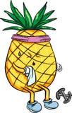 Abacaxi brilhante dos desenhos animados que joga esportes no verão Fotografia de Stock