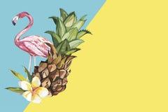 Abacaxi com flores e o flamingo tropicais Elemento para o projeto dos convites, dos cartazes cinematográficos, das telas e de out ilustração stock