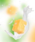 Abacaxi com respingo do leite Imagens de Stock