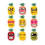 Abacaxi da cara do ícone Fotografia de Stock