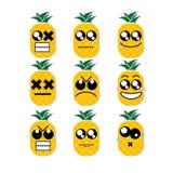 Abacaxi da cara do ícone Imagem de Stock