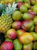 Abacaxi e manga fotografia de stock