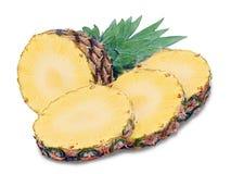 Abacaxi maduro com as fatias isoladas Imagem de Stock
