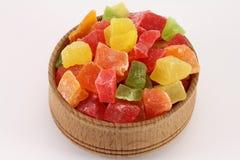 Abacaxi secado (frutos cristalizados) em um formulário circular Imagens de Stock