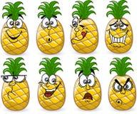 Abacaxis dos desenhos animados com emoções Fotografia de Stock Royalty Free