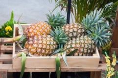 Abacaxis frescos na caixa de madeira fotografia de stock