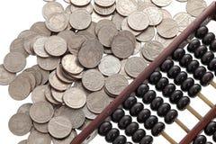 Abaco con le monete Immagini Stock