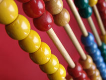 Abacus. Detail of an abacus with colorful beads Royalty Free Stock Photos