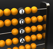 Abacus. Macro with the words idea Royalty Free Stock Images
