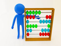 Abacus 3d. 3d render of a person with abacus Royalty Free Stock Image