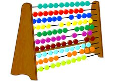 Abacus. Old wooden abacus on white stock illustration