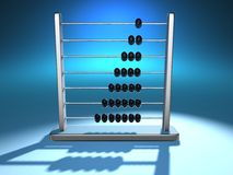 Abacus 5. Conceptual metallic abacus on blue background - 3d render Stock Image