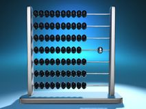 Abacus 6. Conceptual abacus with an outstending chromed ball - 3d render Stock Photos