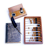 Abacus accounting wooden vintage pencil ink pot book office set. Write Royalty Free Stock Photos