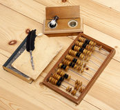 Abacus accounting wooden vintage pencil ink pot book office set. Write Stock Photography