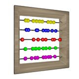 Abacus. With balls of different colors isolated over white, 3d render, square image Royalty Free Stock Photo