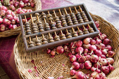 Abacus in the basket garlic at the market Royalty Free Stock Photography