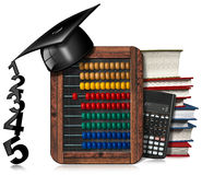 Abacus Blackboard Calculator and Graduation Hat. 3D illustration of a colorful abacus in a blackboard, books, modern calculator and a graduation hat. Isolated on Vector Illustration