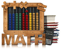 Abacus Blackboard Text Math Books and Calculator. 3D illustration of a wooden and colorful abacus, books, blackboard with text Math and a modern calculator Stock Photos