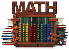 Abacus Blackboard Text Math Books and Calculator. 3D illustration of a wooden and colorful abacus, books, blackboard with text Math and a modern calculator Royalty Free Stock Photos