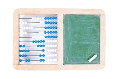 Abacus with blank chalkboard Stock Photo