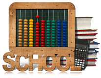 Abacus Books Calculator and Blackboard. 3D illustration of a wooden and colorful abacus, books, blackboard and a modern calculator. Isolated on white background Royalty Free Stock Photography
